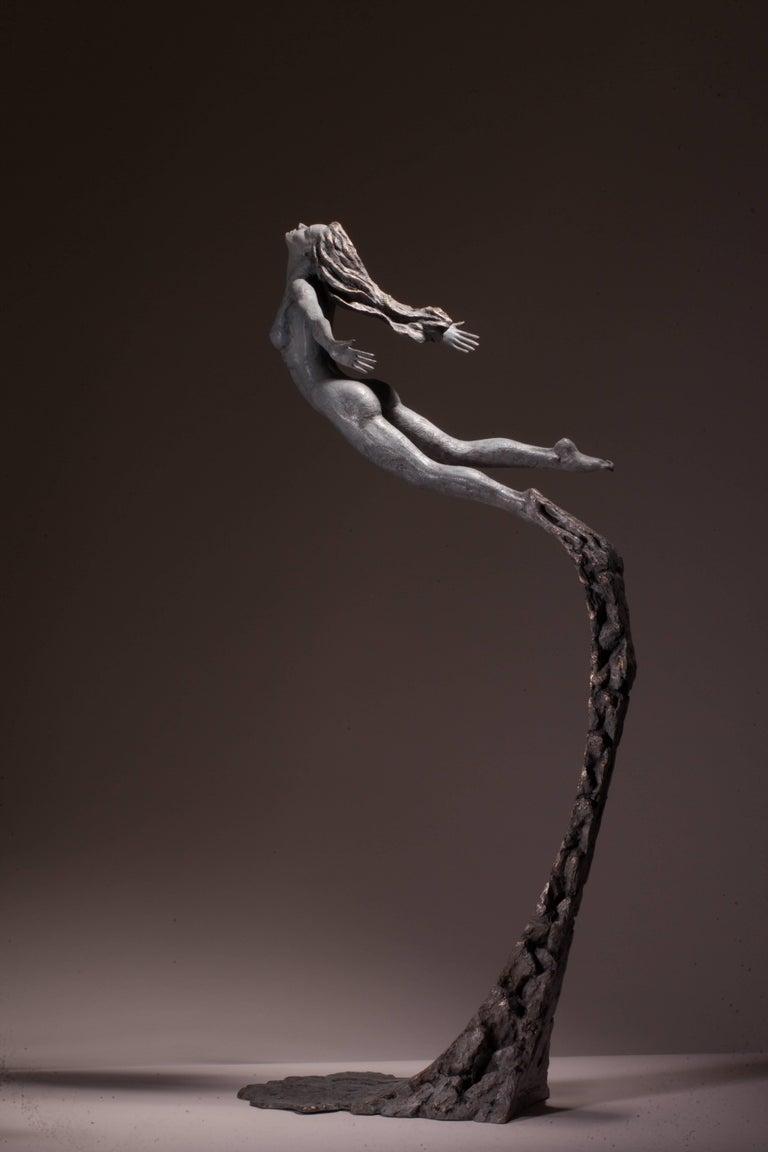 Ian Edwards - Leap Within Faith - Original Signed Bronze Sculpure - Gold Nude Sculpture by Ian Edwards