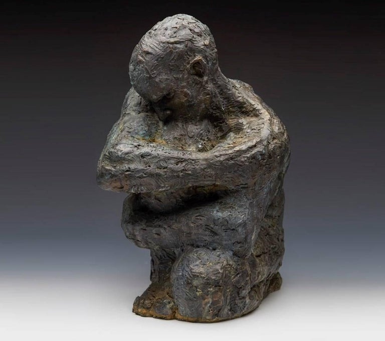 Ian Edwards - The Hour of Darkness - Original Signed Bronze Sculpure Dimensions: 40 x 31 x 31 cm  Edition of 8  Edwards' practice expresses the power and determination of human endeavour. He draws inspiration from natural forces, with his powerful