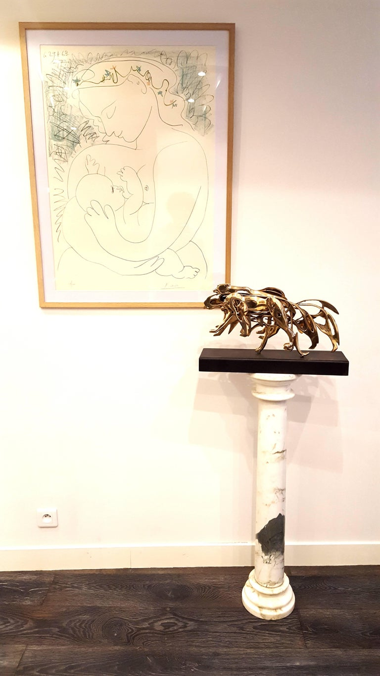 Arman - Gilded Panther - Signed Bronze Sculpture His animal sculptures are very rare and recognized for their originality and their beauty.  Material: Bronze. Signed and Numbered Dimensions: 31 x 50 x 9 cm With Certificate of Authenticity by the