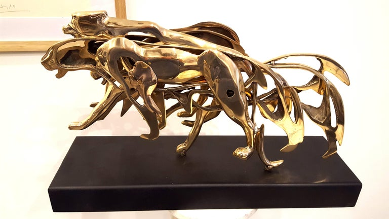 Arman - Gilded Panther - Signed Bronze Sculpture For Sale 2