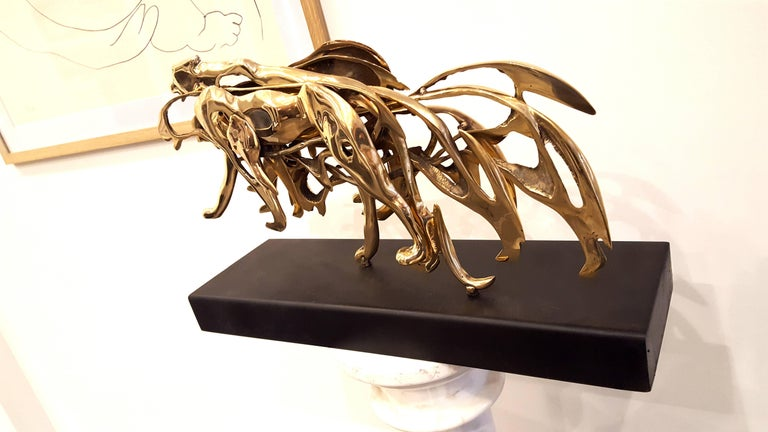 Arman - Gilded Panther - Signed Bronze Sculpture For Sale 3