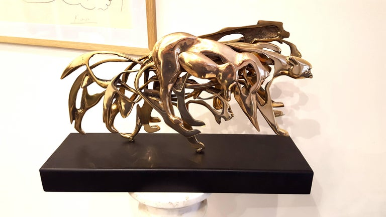 Arman - Gilded Panther - Signed Bronze Sculpture For Sale 6
