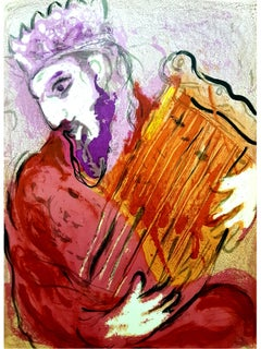 Marc Chagall - Colorful Bible King - Original Lithograph