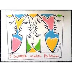 Jean Cocteau - Europe Bridge of Civlizations - Original Lithograph