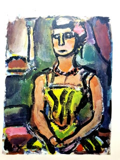 After Georges Rouault - Woman Colorful Portrait - Lithograph