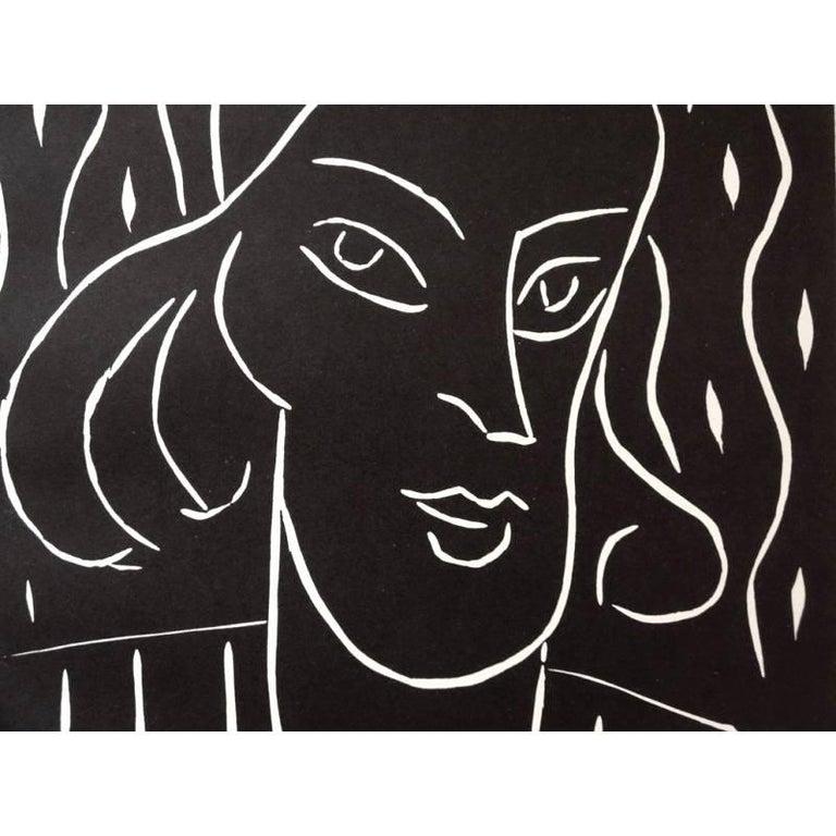 Original Linocut - Henri Matisse - Teeny  - Black Portrait Print by Henri Matisse
