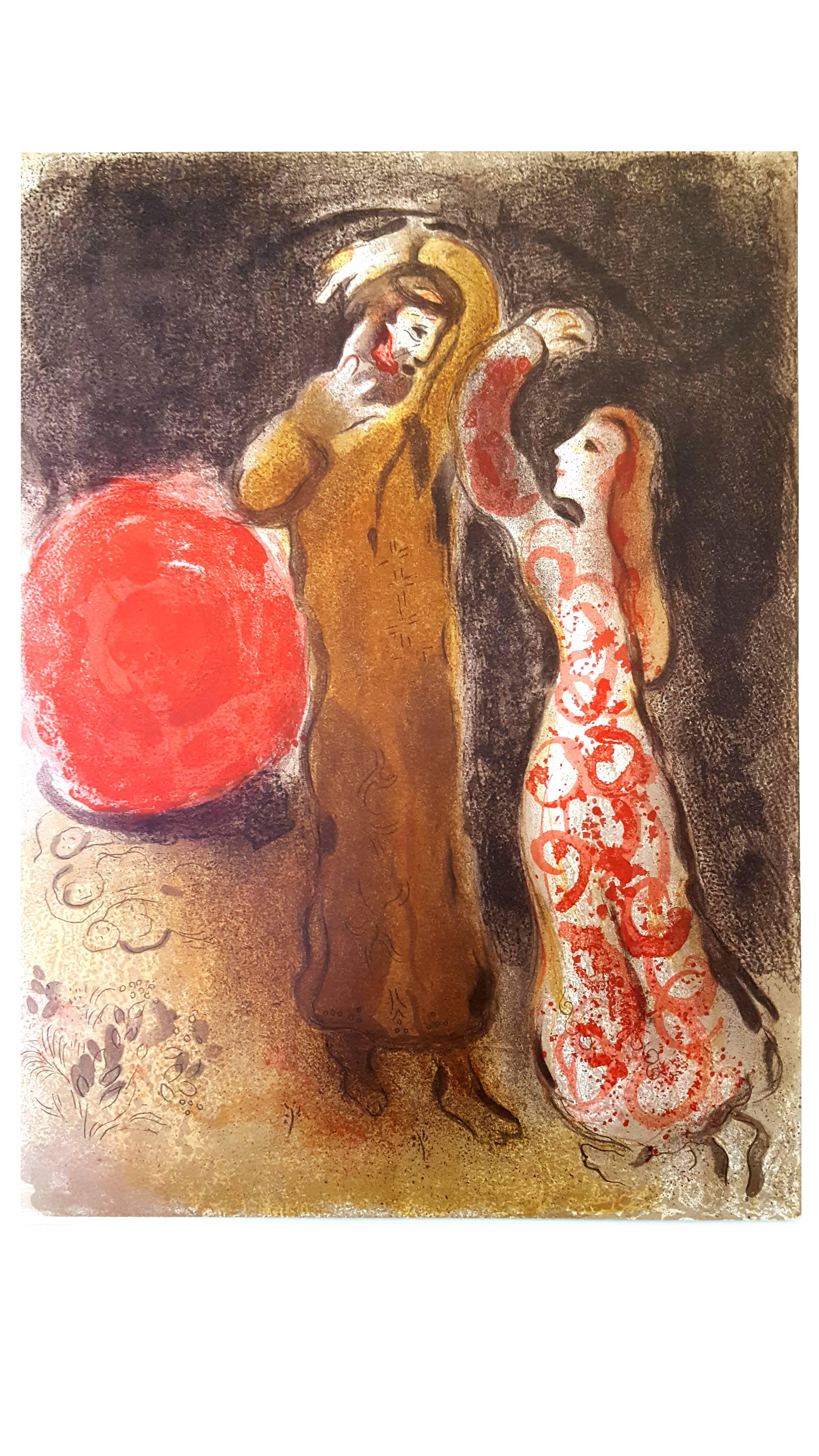 Marc Chagall -  Meeting of Ruth and Boaz - Original Lithograph