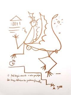 Jean Cocteau - Surrealist Creature - Original Lithograph