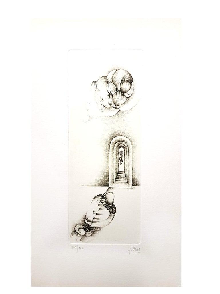 Fred Deux - Grey Surrealism VII - Signed Original Etching