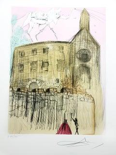 Salvador Dali - Gala's Castle - Original Signed Engraving