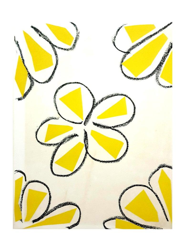 Original Linocut - Henri Matisse - Yellow Flowers - Print by Henri Matisse