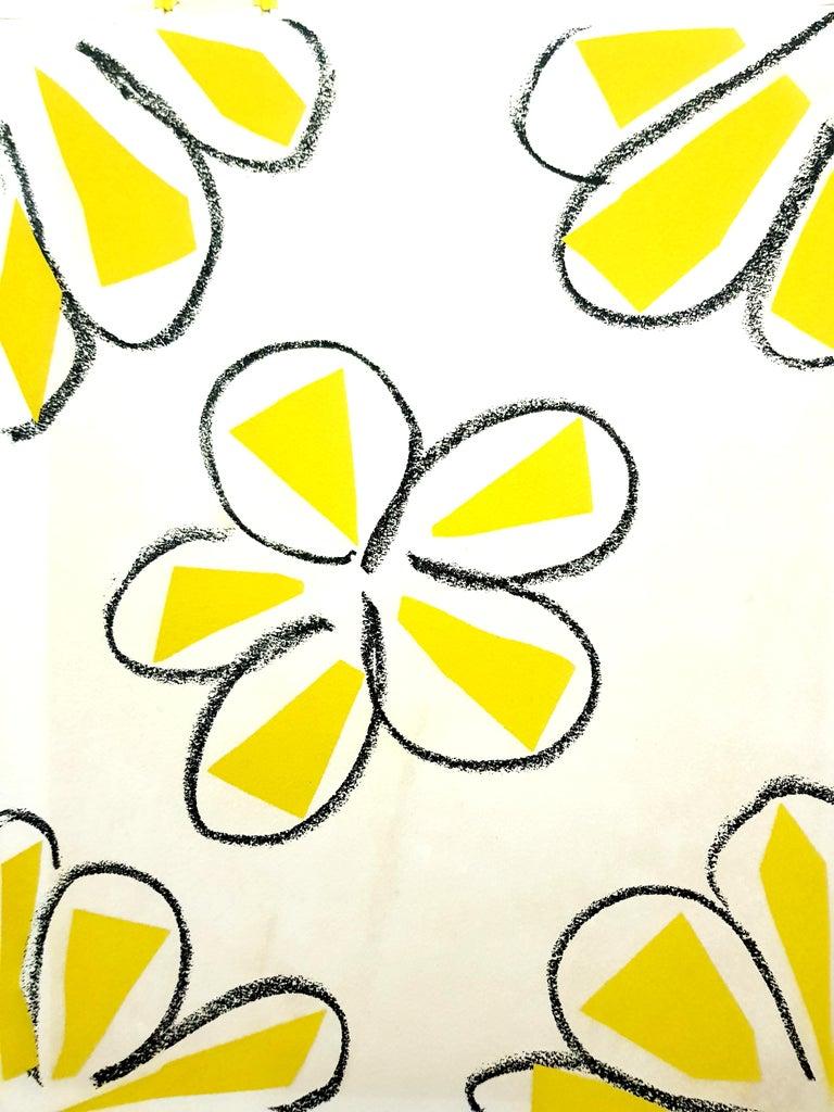 Original Linocut - Henri Matisse - Yellow Flowers - Modern Print by Henri Matisse