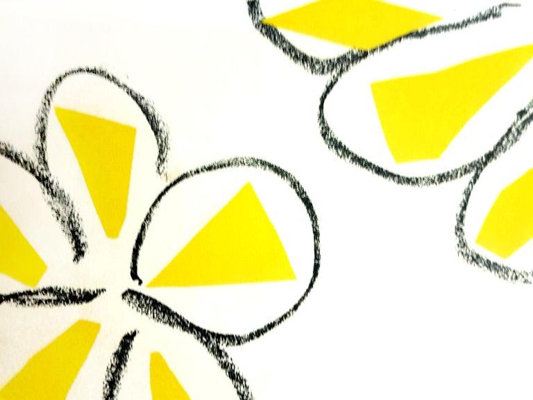 Original Linocut - Henri Matisse - Yellow Flowers For Sale 1