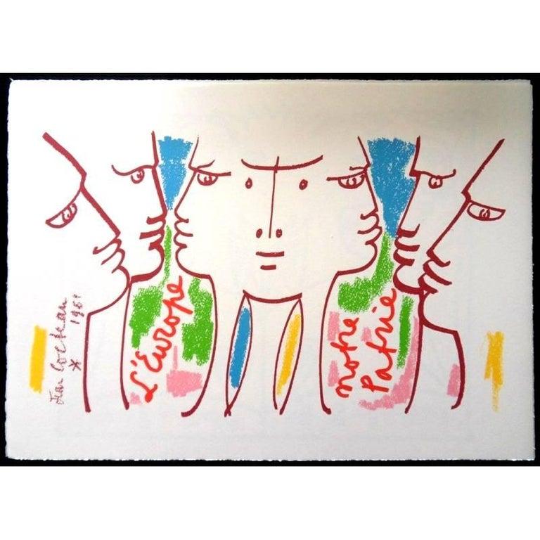 Jean Cocteau - Europe Our Homeland - Original Lithograph