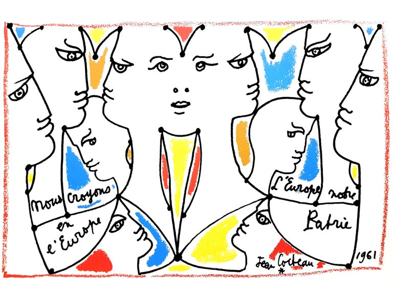 Jean Cocteau - Europe Our Country - Original Lithograph
