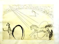 Salvador Dali - The Circus - Rare Parchment Hand-Signed Etching