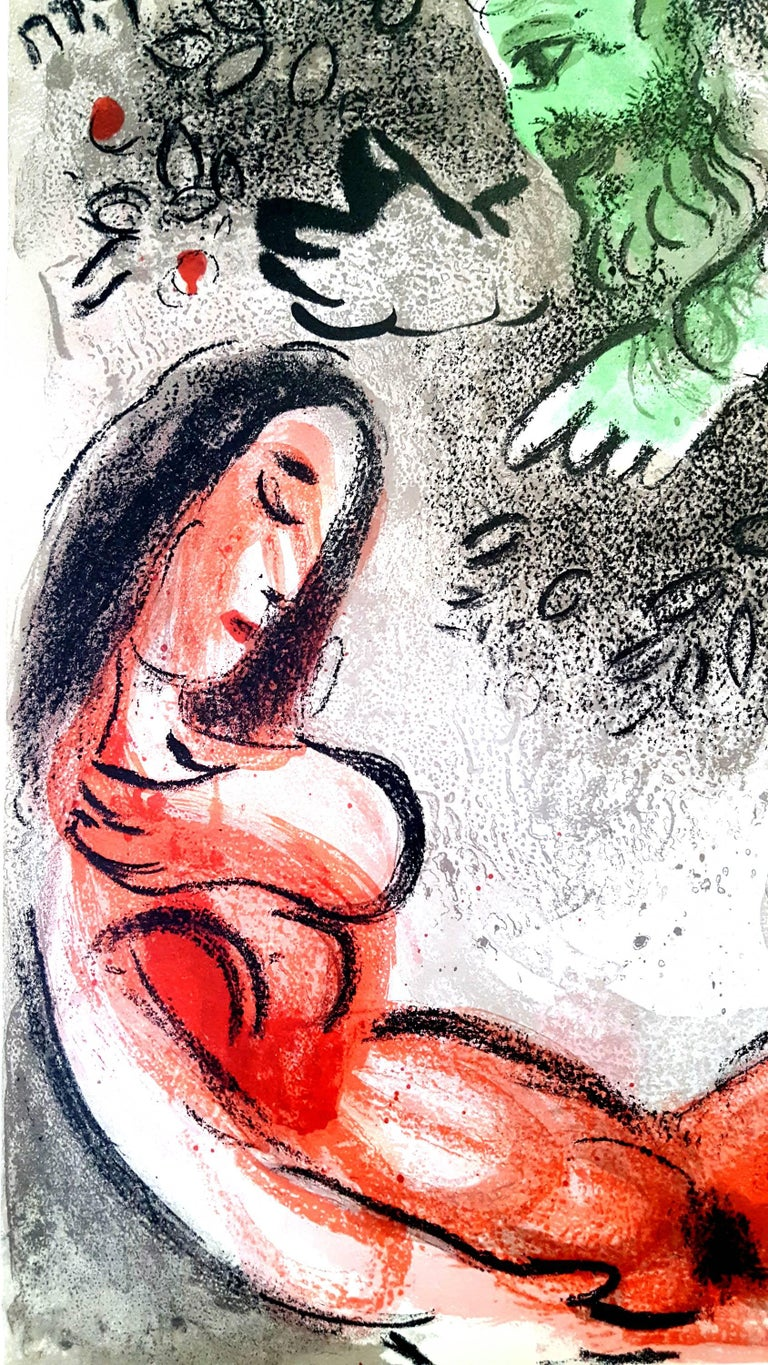 Marc Chagall - The Bible - Eve - Original Lithograph - Brown Portrait Print by Marc Chagall