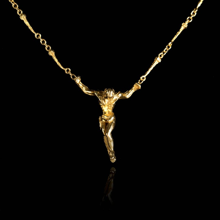 Salvador Dalí Nude Sculpture - Salvador Dali - Christ - Signed Gold Necklace