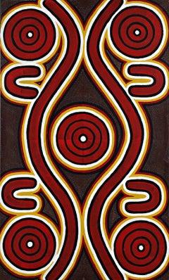 "Sandy Hunter Petyarre, ""Men's Dreaming"" Aboriginal Art Painting"