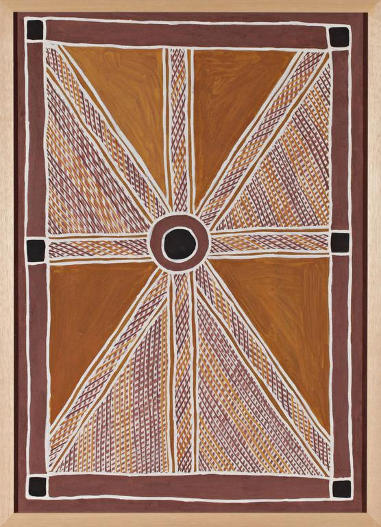 Anita Ganbuganbu - Untitled - Australian Aboriginal Painting - Brown Abstract Painting by Anita Ganbuganbu