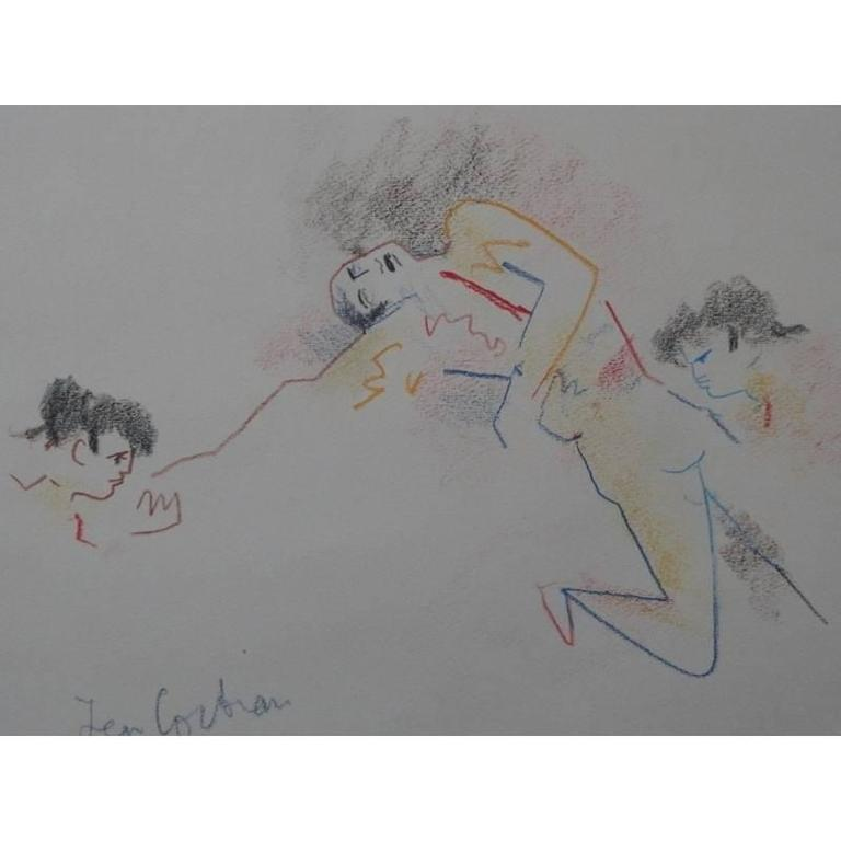 Jean Cocteau - Original Drawing - Death of a Bullfighter - Surrealist Art by Jean Cocteau