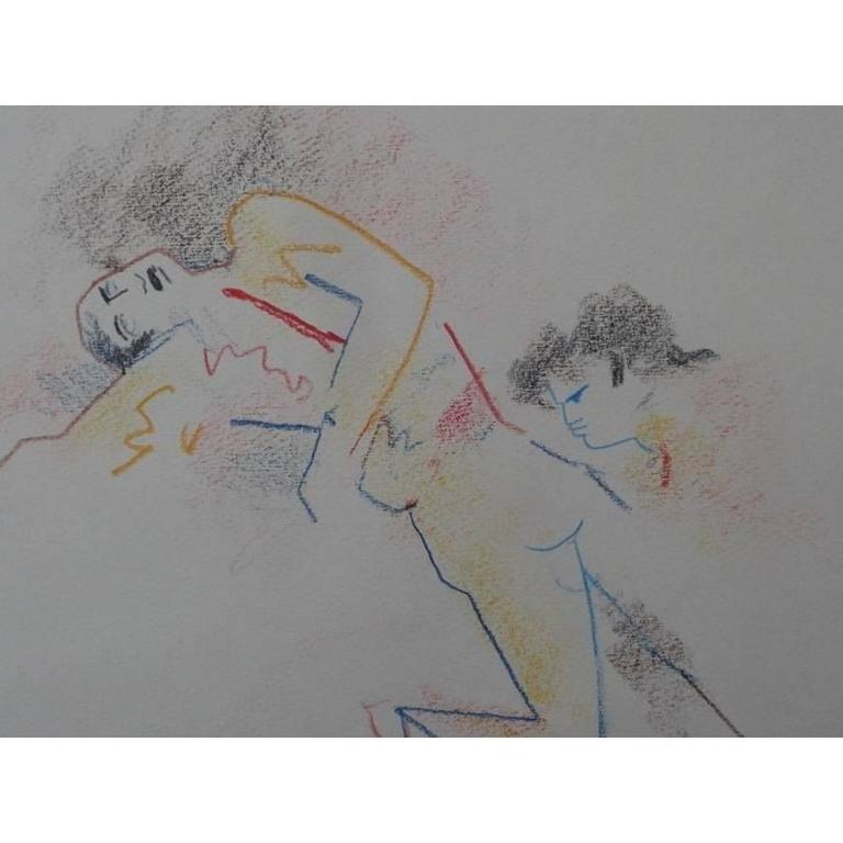 Jean Cocteau - Original Drawing - Death of a Bullfighter - Gray Figurative Art by Jean Cocteau