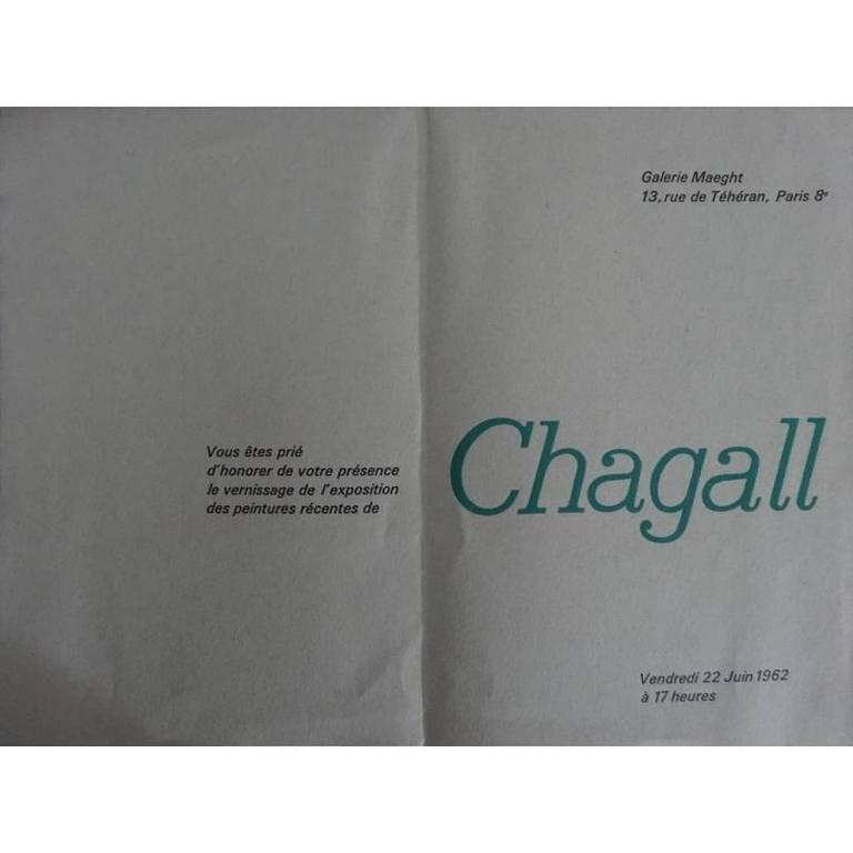 after Marc Chagall invitation for exhibition at Galerie Maeght, 1962 with the printed signature, as issued Dimensions: 24 x 16 cm Condition : Excellent  Marc Chagall  (born in 1887)  Marc Chagall was born in Belarus in 1887 and developed an