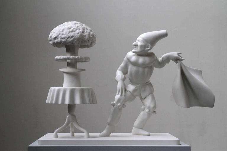Robert Taplin Figurative Sculpture - Punch Does a Magic Trick