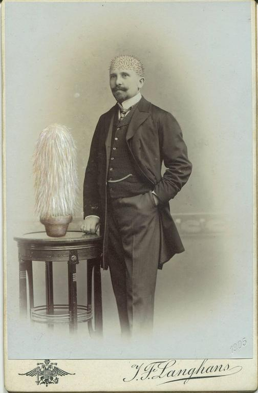 Untitled, Portrait of Bald Man with Hairy Plant