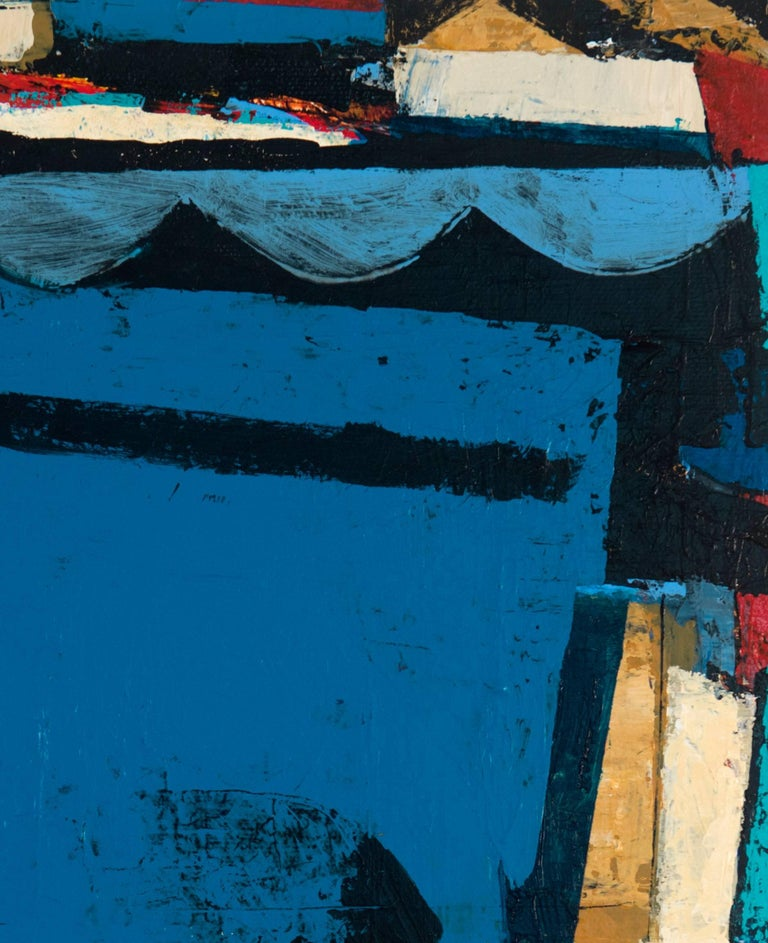 Homecoming  - Blue Abstract Painting by Peter Ramon
