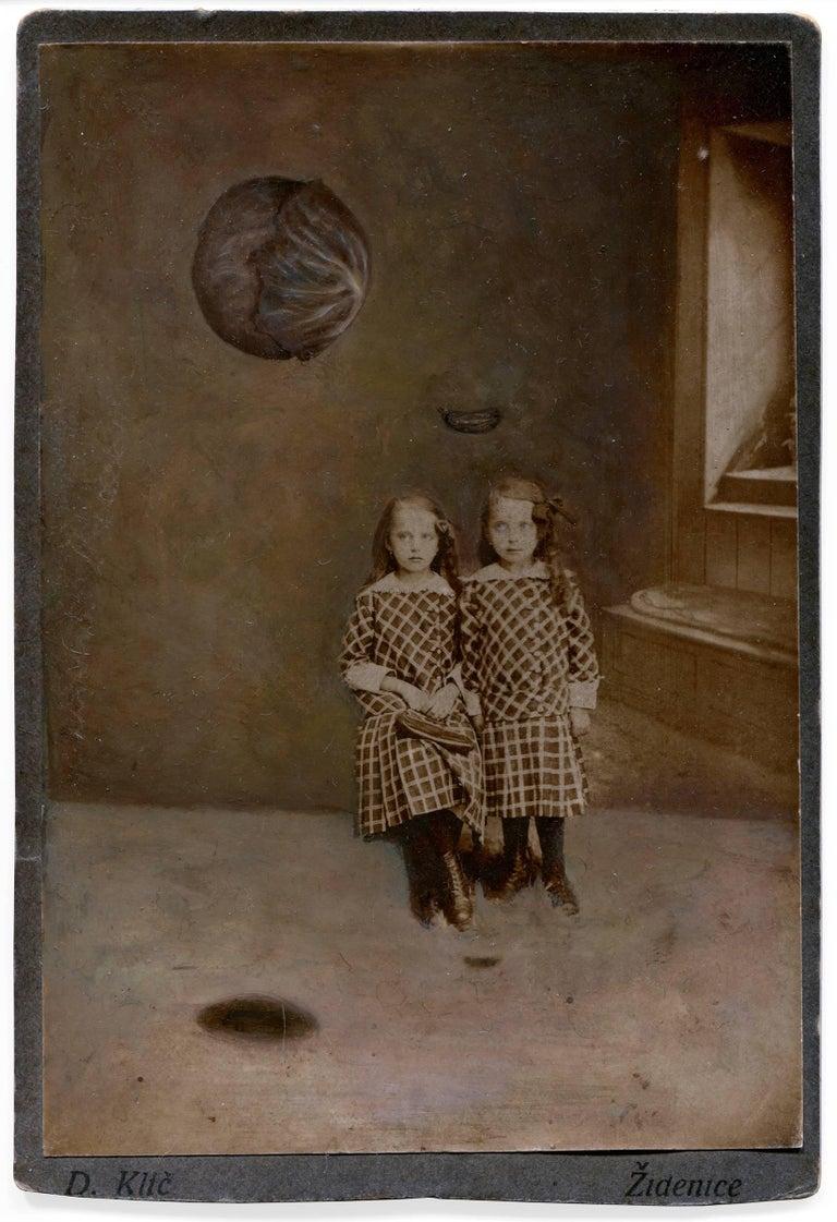 Jana Paleckova Figurative Painting - untitled (two girls with floating produce)