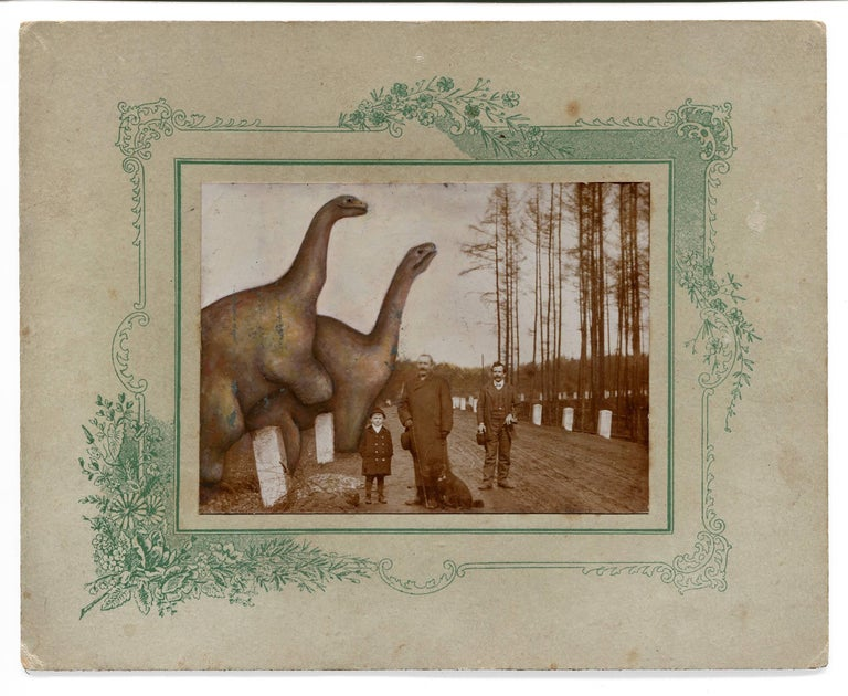 untitled (two men with child, dog and dinosaurs)