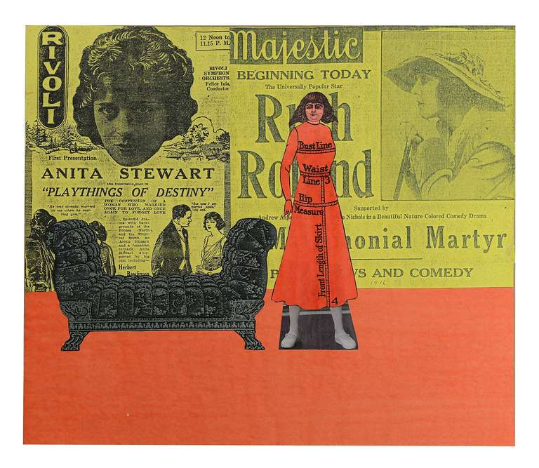 Untitled (Lady in Red Dress) - Page from mixed media collage book - Mixed Media Art by Larry Lewis