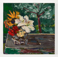 Untitled (Flowers on Purple Table with Tree)