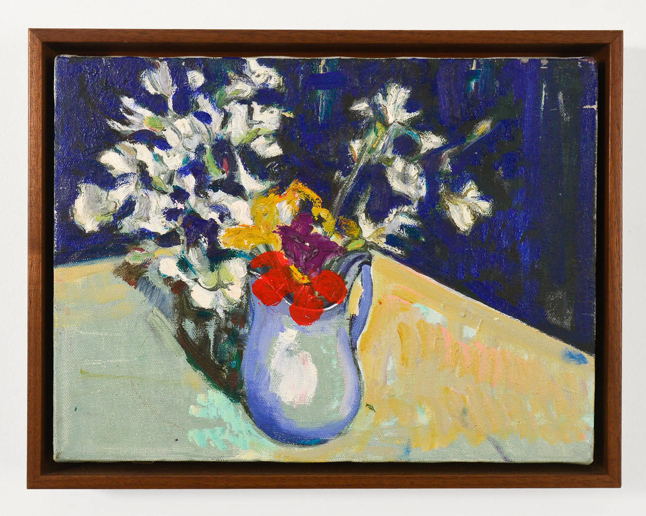 Untitled (Red Purple Yellow with White Flowers on Blue)