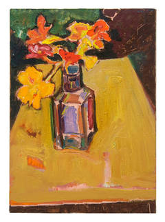 Untitled (Flowers in vase on yellow table)