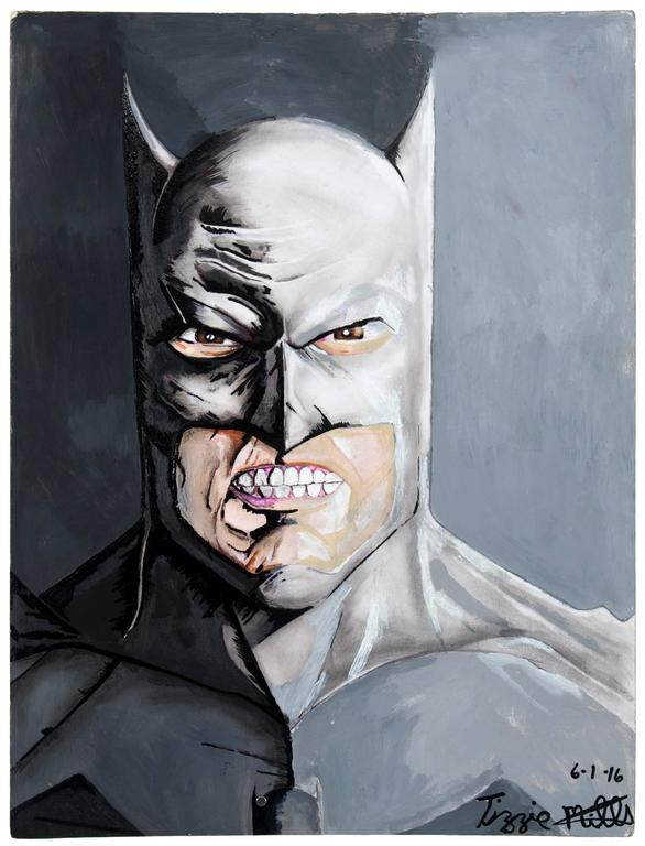 Tizzie Mills Portrait Painting - Untitled (Batman Close Up)