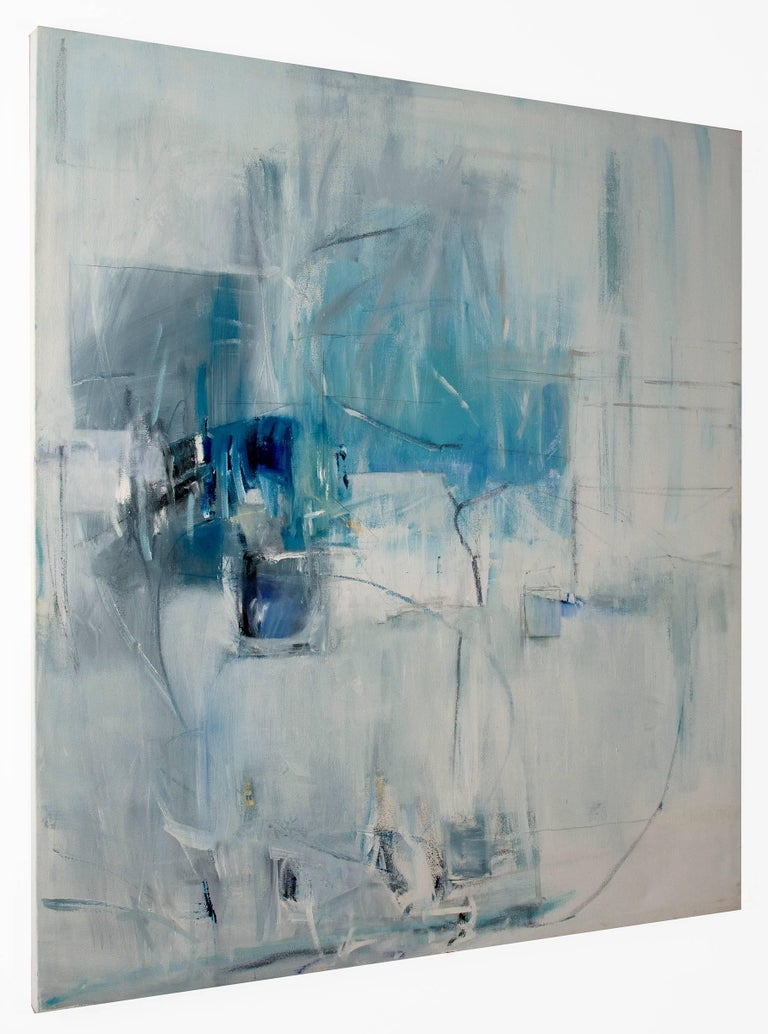 White Curtains at the Blue Motel - Painting by Emilia Dubicki
