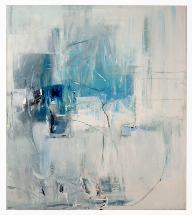 Emilia Dubicki Abstract Painting - White Curtains at the Blue Motel