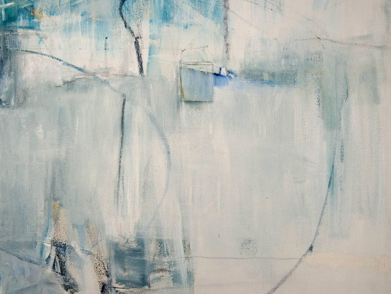 White Curtains at the Blue Motel - Contemporary Painting by Emilia Dubicki