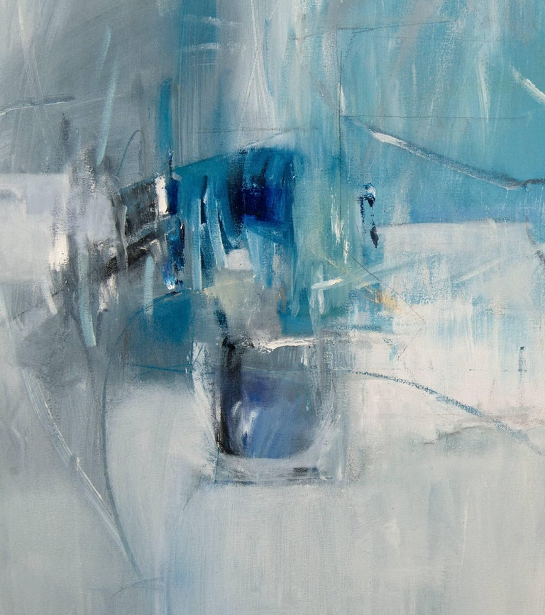 White Curtains at the Blue Motel - Gray Abstract Painting by Emilia Dubicki