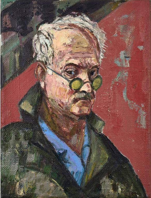 Bernard Chaet Portrait Painting - Yellow Glasses