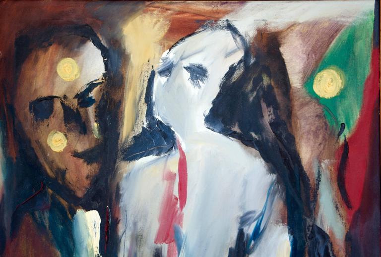 Two Figures with flowers - Abstract Expressionist Painting by Arnold Weber