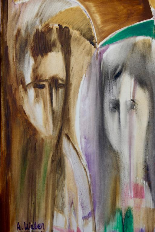 two faces - Abstract Expressionist Painting by Arnold Weber