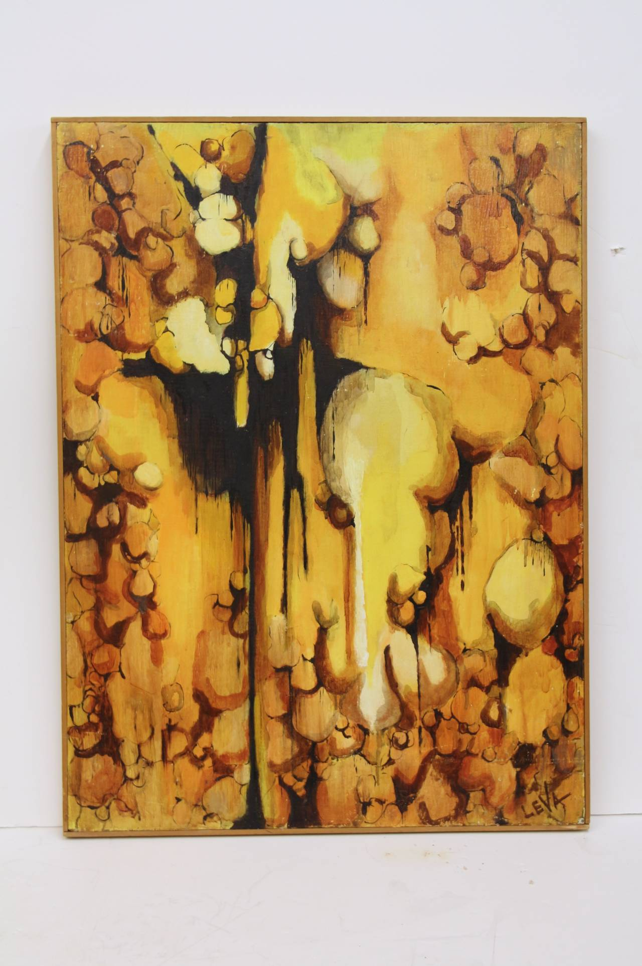 Barry LeVa Abstract Painting - Great Abstract Mixed Media Signed LeVa