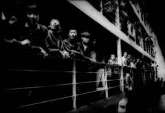 Peasants crowding the rail of a river steamer, Yangtze River, China.
