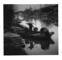 China, Landscape, black and white,  Jiangsu Province