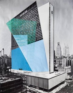 Facade 2, Architecture, New York, Color pencil and collage on digital print