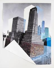 Fold, New York City, Color pencil and collage on digital print