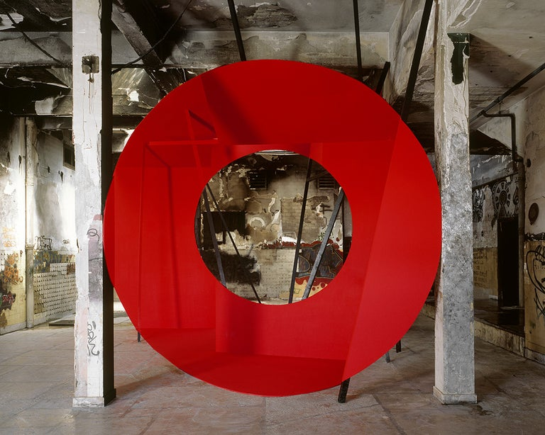 French artist and photographer Georges Rousse, born 1947, converts abandoned or soon-to-be-demolished buildings into almost spiritual visions of color and shape. Rousse translates his intuitive, instinctual readings of space into masterful images